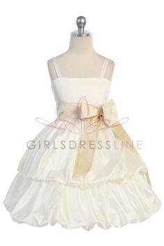 White/Champagne Taffeta Flower Girl & Jr. Bridesmaid Dress CD-578-CH $52.95 on www.GirlsDressLine.Com