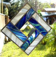 Stained Glass Quilt Square Suncatcher in Wispy Blue and White