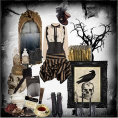 """""""I was never really insane except upon occasions when my heart was touched."""" by morbid-octobur on Polyvore #goth #gothic #dark #victorian #gothicvictorian #neovictorian #romanticgoth #poe #steampunk #polyvore"""