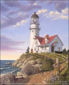 Lighthouse On Rocky Point, Puerto Penasco, Mexico, the Atlantic Ocean Kinkade Paintings, Lighthouse Painting, Lighthouse Pictures, Photo Vintage, Am Meer, Art Pictures, Photos, Strand, Landscape Paintings