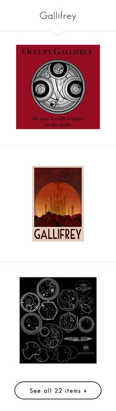 """""""Gallifrey"""" by allie-19 ❤ liked on Polyvore featuring home, home decor, wall art, doctor who, dr who poster, retro home decor, retro travel posters, retro wall art, science fiction posters and bed & bath"""