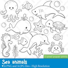 Sea Animals Digital Stamps by pixelpaperprints on Etsy, $5.00
