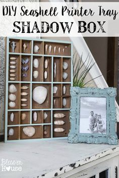 Seashell Printer Tray Shadow Box and Coastal Vignette | Bless'er House #ProjectAmazing #ad