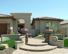 Front Walkway, Front Courtyard, Front Yard Fence, Front Yards, Gravel Landscaping, Front Yard Landscaping, Backyard Patio, Arizona Landscaping, Landscaping Ideas