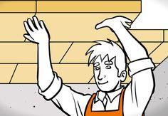 Heimwerker dämmt Keller-Decke mit Dämmplatten.