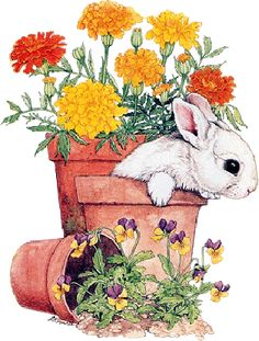 Bunny in flower pot Watercolor Animals, Watercolor Cards, Watercolor Paintings, Lapin Art, Image Deco, Bunny Painting, Art Carte, Spring Images, Printable Animals
