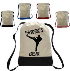 Boy Karate Martial arts Drawstring Closure Bag Backpack personalized wit name taekwondo judo Custom Made T Shirts, Custom Tees, Backpack Bags, Drawstring Backpack, Tote Bags, Personalized Backpack, Best Commercials, Taekwondo, Judo