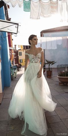 gali karten 2018 bridal off the shoulder heavily embellished bodice romantic elegant soft a line wedding dress sweep train (12) mv -- Gali Karten 2018 Wedding Dresses | Wedding Inspirasi #wedding #weddings #bridal #weddingdress #bride ~