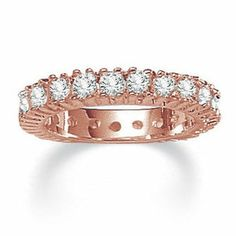 Palm Beach Jewelry Rose Plated Cubic Zirconia Eternity Band Ring