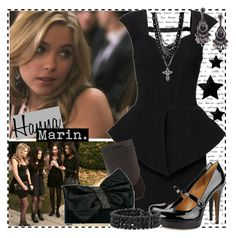"""""""Hanna 1.1d"""" by silver-screen-style ❤ liked on Polyvore featuring Forever Unique, Mixit, Gucci, Worthington, Amrita Singh, rosary necklaces, peplum dresses, pll, hanna marin and chandelier earrings"""
