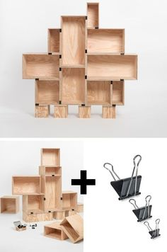 Crates & Binder Clips - Easiest DIY Shelves Ever | Click Pic for 25 DIY Small Apartment Decorating Ideas on a Budget | Organization Ideas for Small Spaces