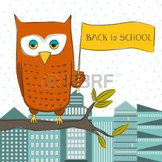 Nette lustige Eule als Symbol der Weisheit mit der Hand zurück in die Schule…
