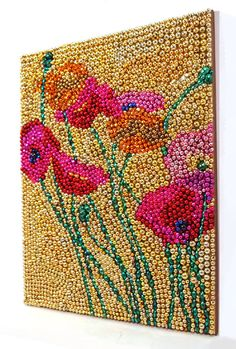 SALE Mardi Gras Beaded Poppy Flowers Mosaic 19x15 by nolabeadart