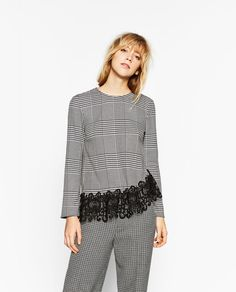 ZARA - WOMAN - CHECKED TOP WITH LACE HEM