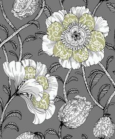 Muuan Grey / Green wallpaper by Vallila