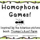 This fun-filled Homophone Pack is based off of the hilarious picture book Trumans Aunt Farm by Jama Kim Rattigan.  All of the 48 homophones in t...