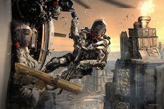 Sci Fi Armor, Sci Fi Weapons, Sci Fi City, Future Weapons, Future Soldier, Futuristic Technology, Cyberpunk Art, Medieval, Sci Fi Fantasy