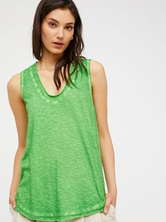 Bombay Tank | In an easy, oversized fit this heathered tank features a scoop neck and raw, unfished trim. Semi-sheer style. Order Checks, Free People, Scoop Neck, Tank Tops, Shopping, Fit, Easy, Women, Style