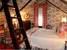 Cozy loft bedroom in checks & toile. - Love how it combines different coloured toiles Cottage Living, Cozy Cottage, Cottage Style, Red Cottage, Cottage Design, Attic Spaces, Attic Rooms, Attic Loft, Open Spaces