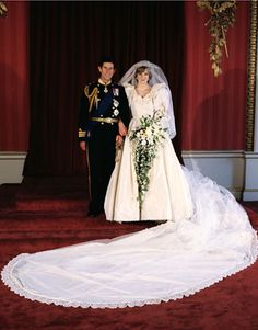 Princess Diana and Prince Charles's wedding portrait from July 1981. The bride wore a gown designed by David and Elizabeth Emanuel.