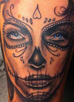 Sugar Skull Tattoo, a very good one! Bad Tattoos, Girl Tattoos, I Tattoo, Tattoos For Guys, Sweet Tattoos, Tatoos, Skull Girl Tattoo, Sugar Skull Tattoos, Sugar Skull Girl