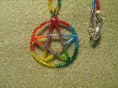 Rainbow Pentagram by mysticbeader on Etsy, $7.00
