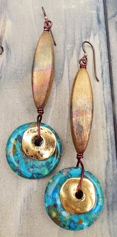 Bold Architectural Copper Tube, Gold Coin and Turquoise Disc Earrings