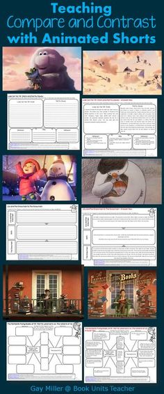 If you are looking to add a high interest activity to your lessons, try using animated shorts. These printables help students compare and contrast. Reading Lessons, Reading Activities, Reading Skills, Writing Skills, Teaching Reading, Guided Reading, Close Reading, Teaching Art, Teaching French