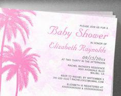 Rustic Palm Tree Beach Baby Shower Invitation