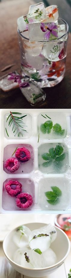 Jazzy take on water: edible flower ice cubes, raspberry + herbs ice cubes and lavender + mint ice cubes