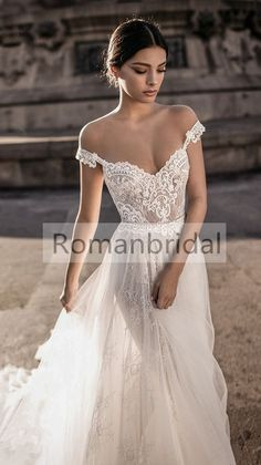 2018 Hot selling Floor-length Lace Appliques off-shoulder Sleeveless White prom dress, long Wedding Dress, WD0304