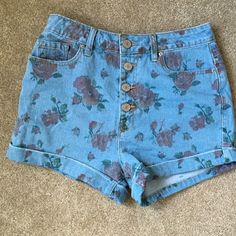 Floral denim shorts High waisted floral denim cuffed shorts from urban outfitters. Super cute. BDG Shorts Jean Shorts