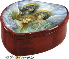 "Believe, Hope & Love Angels music/jewelry box featuring the art of Russian artist Nadezhda Strelkina.  Plays ""WInd Beneath My WIngs"""