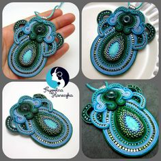 My hand made comes from oriental folklor and west modernity featuring unique , harmony and stylish . These unique soutache pendend were created using the very intricate technique of soutache.  Item detail:  NAME: Eye dolphin  MATERIALS: soutache cords, hematite, beads Toho, felt, agate COLORS: blue , green, turquoise, gold SIZE: maximum width 7cm (2,76 inch)  total length 8,5cm (3,35 inch)  FINISH : Bails , back felt  PROTECTION: Impregnated Buying two or more items, you pay once for… Green Turquoise, Blue Green, Soutache Jewelry, Beaded Embroidery, Pendant Jewelry, Crochet Earrings, Beads, Detail, Trending Outfits