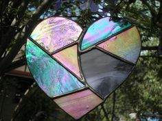 Stained glass / leadlight  mosaic heart with by edelweissgallery, $25.00