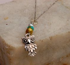 Owl Charm Necklace with Turquoise and Mother of Pearl on Silver Chain