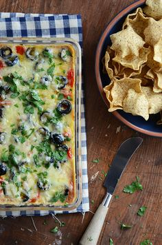 cheesy warm bean dip edible mosaic 30 Game Day Snacks