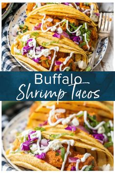 Shrimp Tacos (made with creamy Buffalo Shrimp) are one of my favorite taco recipes. This Buffalo Shrimp Tacos Recipe is tossed in a finger licking good shrimp taco sauce you're going to love. This easy shrimp tacos recipe is perfect for Cinco De Mayo, family night in, or game night with friends! Nothing is better than spicy crispy buffalo shrimp topped with all the fixings and wrapped in a corn tortilla. I'm obsessed! #thecookierookie #shrimp #tacos Shrimp Taco Sauce, Best Shrimp Taco Recipe, Spicy Shrimp Tacos, Shrimp Taco Recipes, Fish Recipes, Hooters Buffalo Shrimp Recipe, Buffalo Shrimp Recipes, Homemade Buffalo Sauce, Easy Meals
