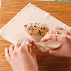 We like the ease of store bought cookie dough for these Cookie Dough Egg Rolls, but feel free to mak Desserts To Make, Köstliche Desserts, Delicious Desserts, Food To Make, Dessert Recipes, Yummy Food, Tasty, Food Truck Desserts, Deep Fried Desserts