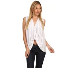 High Low Draped Top #415-WS Sleeveless high low draped top. Tops