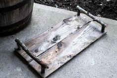 tray made out of old wood and branches