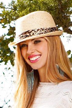 2b Leopard Band Straw Fedora