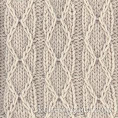 Diamonds and Stripes Stitch Pattern, knitting pattern chart, Squares, Diamonds, Basket Stitch Patterns