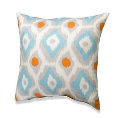 With Love Home Decor - New! Aztec Ikat Mandarin/Blue Accent Pillow