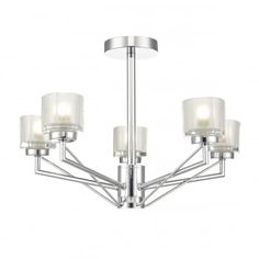 A modern angular semi-flush ceiling light in a polished chrome finish with crystal glass drum shades. This is perfect in a living room or bedroom. This light is double insulated, ensuring that it is safe to use in homes without an earth cable.This light has a low profile, so is ideal for homes with low ceilings.