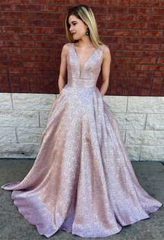 A-Line Deep V-Neck Long Lilac Printed Satin Prom Dress with Pockets, modest plunging long prom dresses, unique evening gowns with pleats