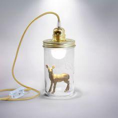 La Tête dans le Bocal BICHE - Lampe à poser/baladeuse Or H17,5cm