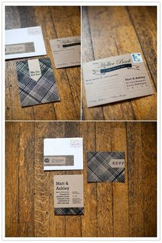 Plaid and tartan detailing for wedding stationery