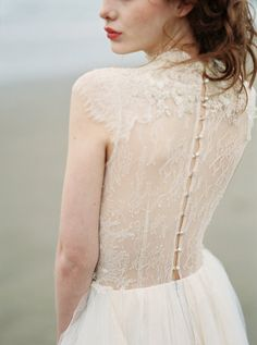 beaded button up lace wedding gown