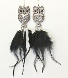 Silver Owl Earrings with Black Feathers. #bird